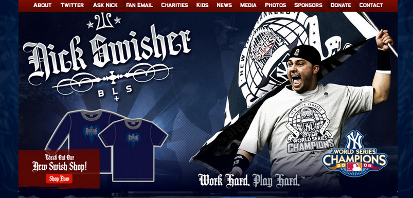 Website for Nick Swisher of the New York Yankees